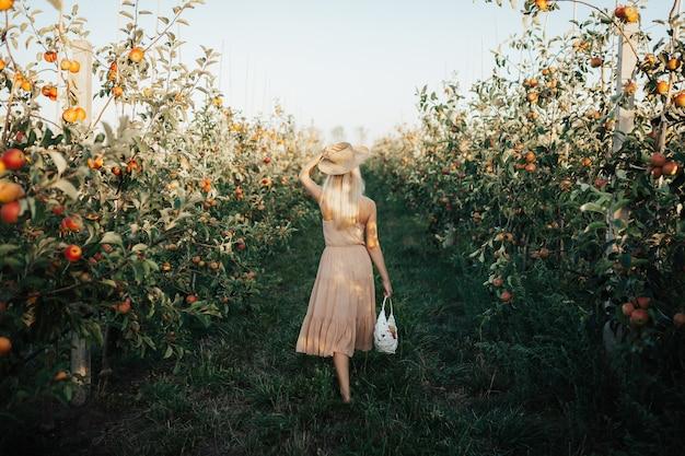 果樹園でリンゴと白いバスケットを運ぶ女の子の背面図。
