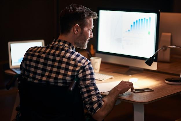 Вид сзади человека, работающего с технологиями в ночное время