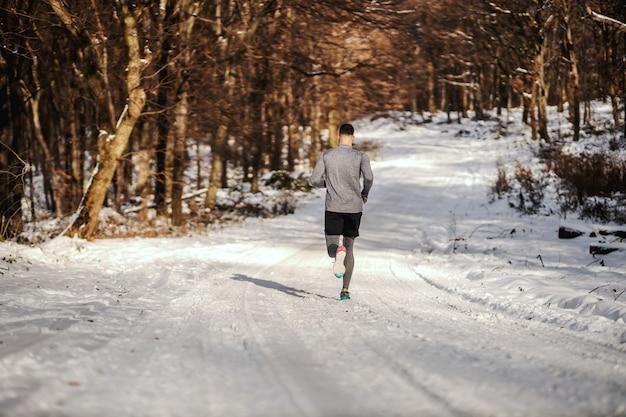 冬の雪の上で自然の中を走っているスポーツマンの背面図。冬のフィットネス、自然の中でのフィットネス、肌寒い天気