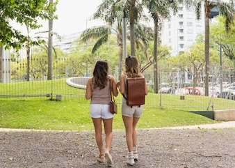 Rear view of two female tourist in the park