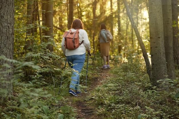 숲에서 막대기로 운동하는 등 뒤에 배낭과 두 친구의 후면보기