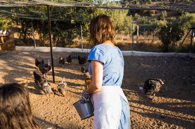 Вид сзади женщины, кормящей курицы, стоящей в поле