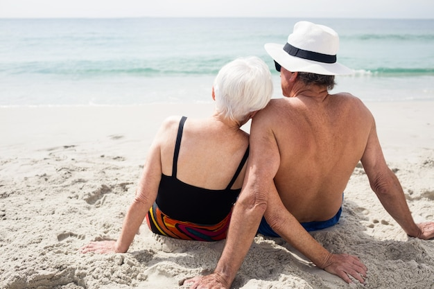 Rear view of senior couple sitting on beach