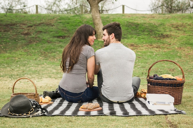Rear view of smiling young couple looking at each other on picnic