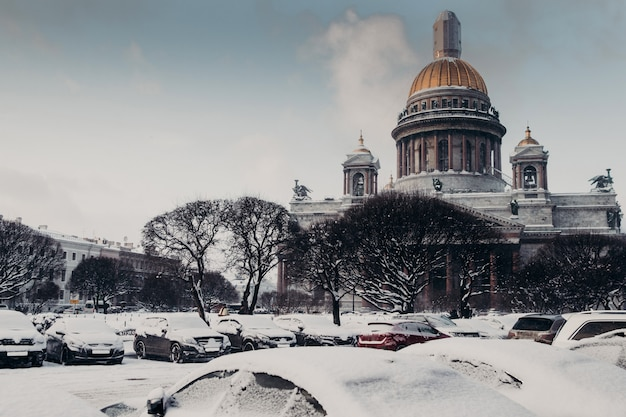 Rear view of st isaac`s cathedral during winter weather, covered with snow