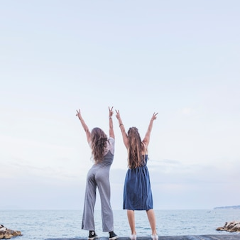Rear view of two female friends standing on pier raising hands showing peace sign
