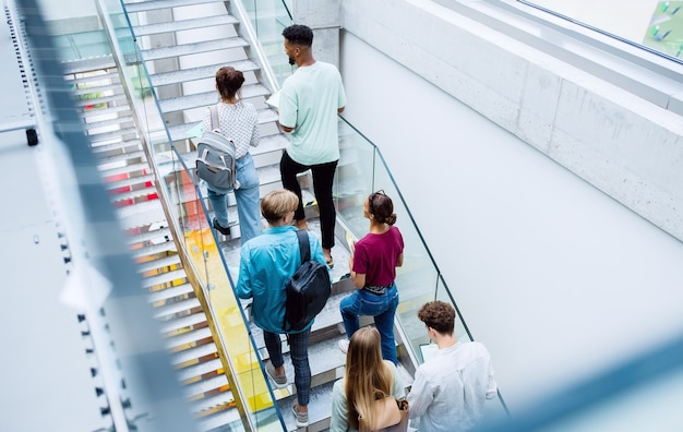 Rear view of university students walking up the stairs indoors, looking at camera and waving.