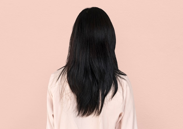 Rear view of woman showing her long black hair