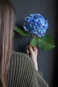 Rear view of a woman who holds a large blue hydrangea flower against a dark wall