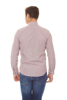 Rear view of a young casual man