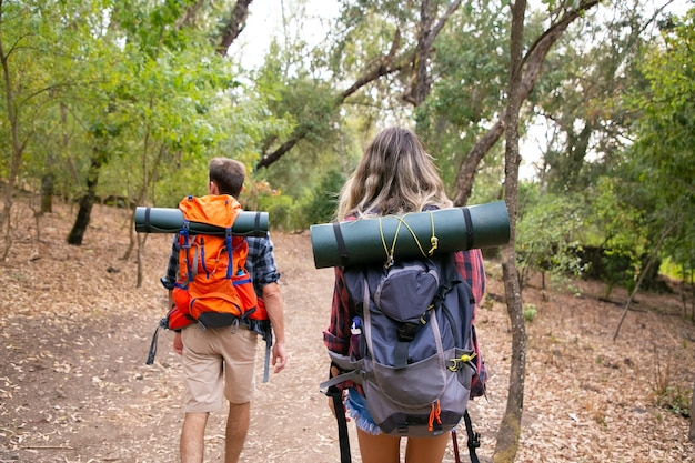 Rear view of young hikers trekking path in forest. traveler couple exploring nature together, walking through woods and carrying big backpacks. tourism, adventure and summer vacation concept