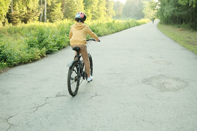 Rear view of youthful boy in casualwear and protective helmet riding bicycle along asphalt road on green trees and bushes