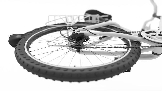 Заднее колесо белого велосипеда крупным планом, 3d иллюстрация