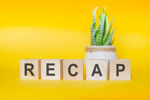 Сообщение recap из деревянных блоков на желтом фоне, зеленое растение в вазе для цветов на фоне