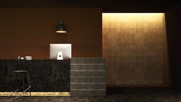 Reception counter interior 3d rendering in hotel - loft style