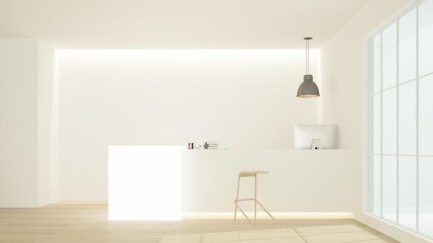 호텔의 리셉션 카운터 내부 3d 렌더링-최소한의 스타일