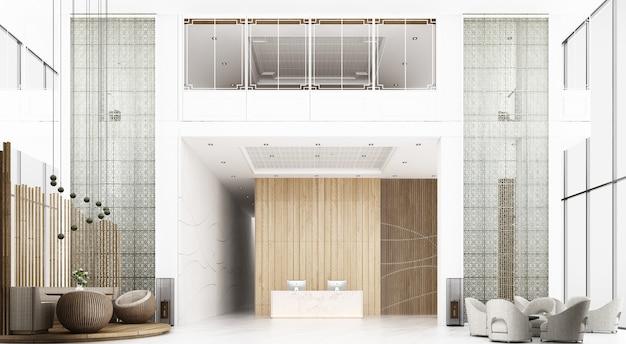 Приемная в отеле. высокий потолок с видом на антресоль, есть зона ожидания. украсьте стойку администратора в китайском стиле и узоре, используя материалы из дерева и металла. 3d рендеринг