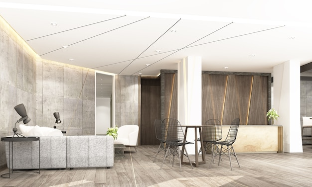 현대 산업 스타일 인테리어 디자인 3d 렌더링에 대기실과 공동 작업 공간이있는 리셉션 메인 홀