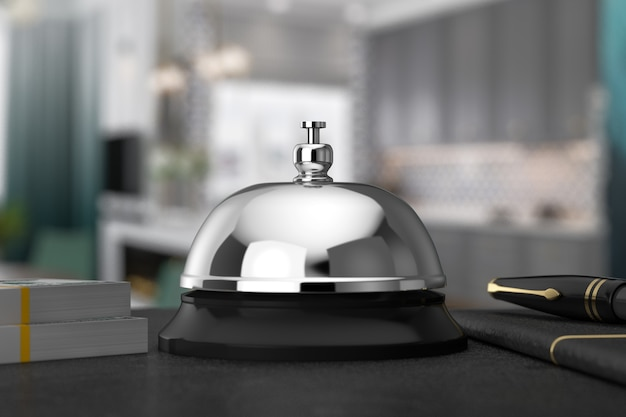 Reception ring alarm service bell on a table extreme closeup. 3d rendering
