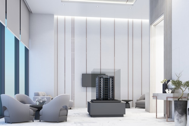 Reception waiting area lobby with wall decorate sales gallery on white marble floor and table with chair 3d rendering