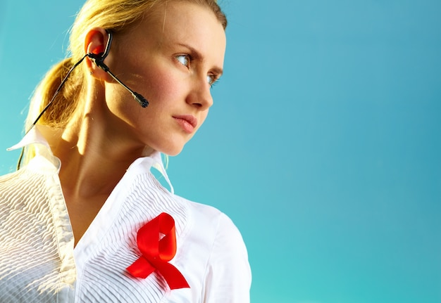 Receptionist business service health female