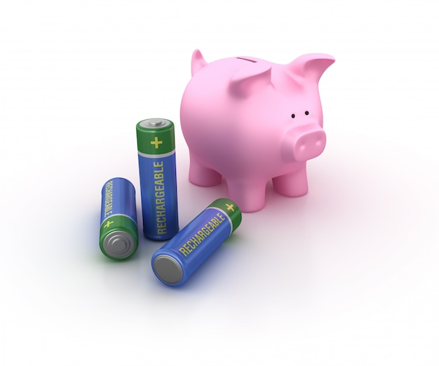 Rechargeable battery with piggy bank
