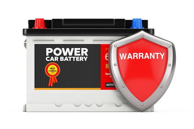 Rechargeable car battery 12v accumulator and abstract label with red metal protection warranty shield on a white background. 3d rendering