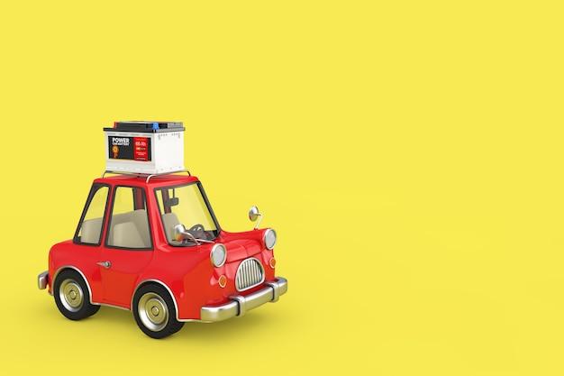 Аккумулятор 12 в автомобильного аккумулятора с абстрактной этикеткой с красным мультяшным автомобилем на желтом фоне. 3d рендеринг