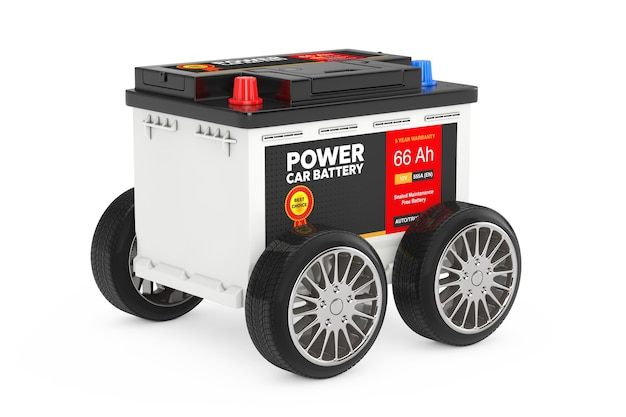 Rechargeable car battery 12v accumulator with abstract label with wheels on a white background. 3d rendering