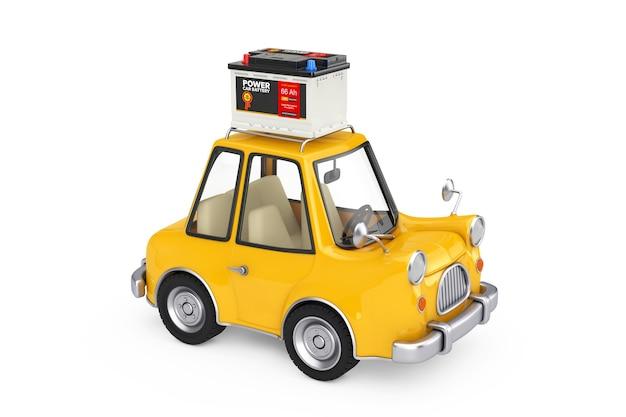 Аккумулятор 12 в автомобильного аккумулятора с абстрактной этикеткой с желтым мультяшным автомобилем на белом фоне. 3d рендеринг