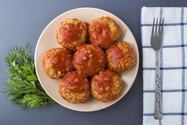 Recipe of cooking vegetarian buckwheat cutlets or meatballs