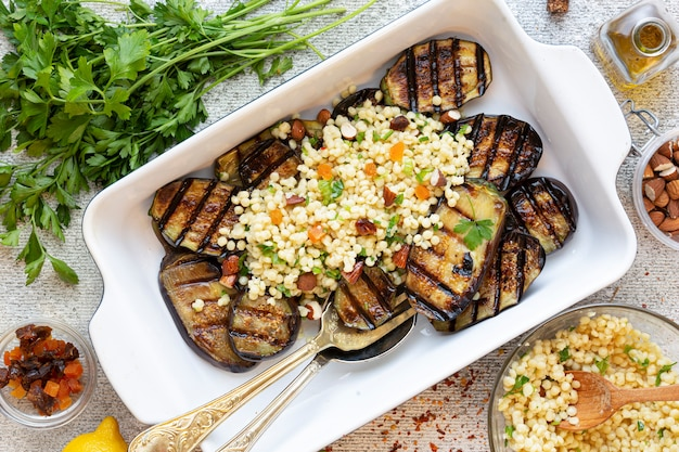 Recipe for cooking vegetarian grill eggplant with couscous and dried fruit