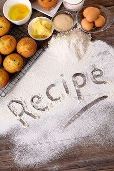Recipe with muffins and ingredients