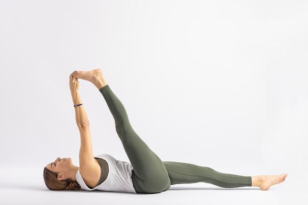 Reclined big toe pose straps yoga posture asana