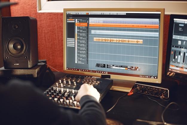 Recording podcast in radio studio. in a recording studio.