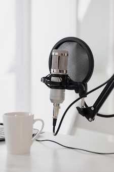 A recording studio with microphones and headphones a studio for recording a podcast and creating