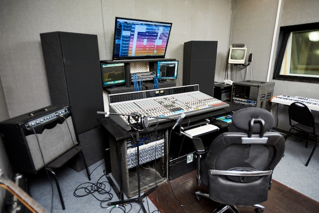 Recording studio with modern equipment