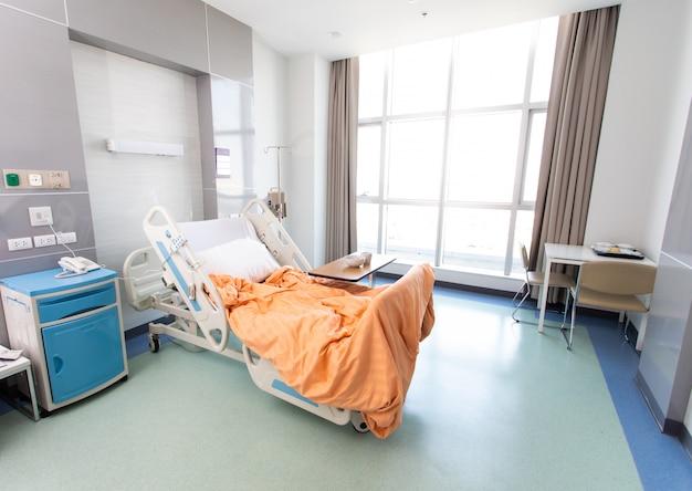 ベッドと快適な医療を備えた回復室。空の病室のインテリア。新しい医療センターのベッドを備えた清潔で空の部屋