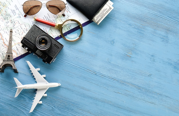 Recreation items: camera, sunglasses, money in your wallet, map and travel itinerary.
