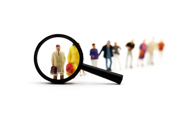 Recruitment zoom magnifying glass picking business person candidate people group.