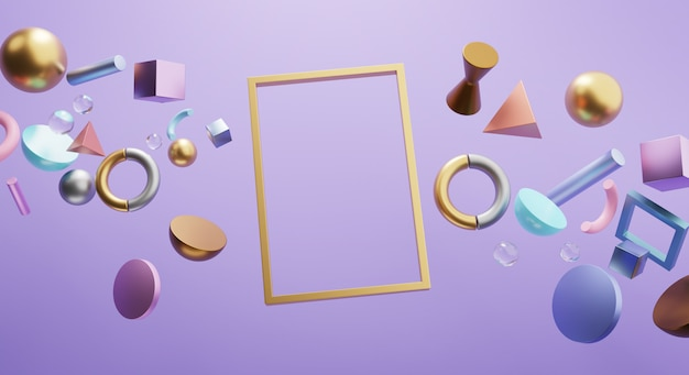 Rectangle gold frame. blank space banner on purple wall. stylish 3d rendering object