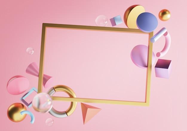 長方形のゴールドフレーム。ピンクの壁の空白。スタイリッシュな3dレンダリングオブジェクト