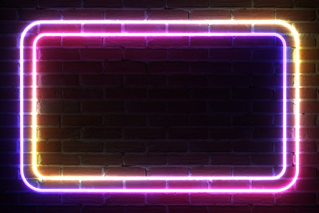 벽돌 벽 앞의 템플릿 및 레이아웃을 위한 직사각형 네온 라이트 프레임. 3d 렌더링