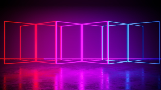 Rectangle  neon light  with blackground, and concrete floor, ultraviolet , 3d render