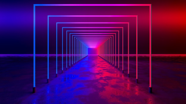 Rectangle neon light with blackground, and concrete floor, ultraviolet concept