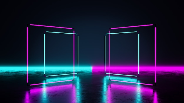 Rectangle neon light