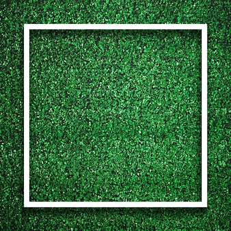Rectangle square white frame edge on green grass with shadow background. decoration background element concept.