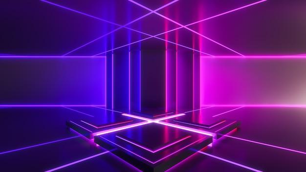 ネオンの光、抽象的な未来的な背景、紫外線の概念、3 dのレンダリングの四角形のステージ