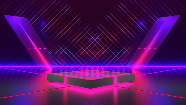 Rectangle stage with neon light, abstract futuristic background, ultraviolet concept, 3d render