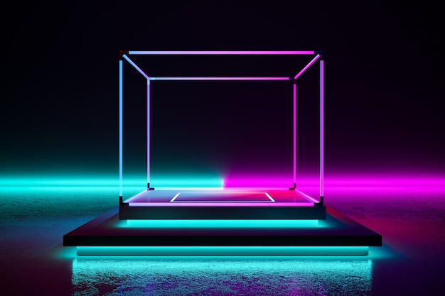 Rectangle stage with neon light